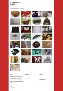 page d'accueil de l'e-musée de nos chers objets